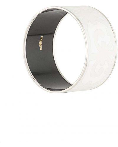 Czarna bransoletka srebrna z printem Hermes