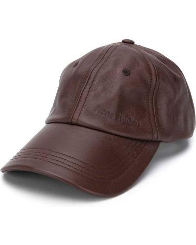 Brązowa czapka skórzana klamry Acne Studios