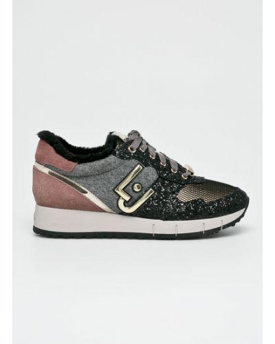 Кожаные кроссовки текстильные на шнуровке Liu Jo