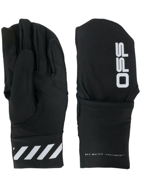 Czarne rękawiczki z printem w paski Off-white
