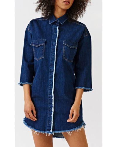 Джинсовое платье мини с карманами Simple