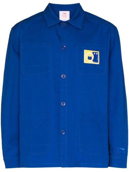 Хлопковый синий пиджак с вышивкой на пуговицах Li-ning