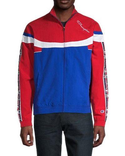 Синяя длинная куртка с воротником с карманами Champion