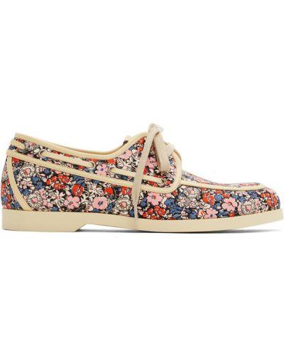 Кожаные бежевые туфли на шнуровке Gucci