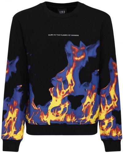 Czarna bluza bawełniana z printem Ihs