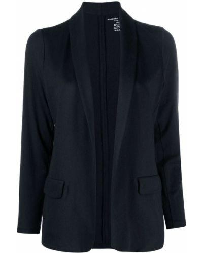 Синий удлиненный пиджак с лацканами из вискозы Majestic Filatures