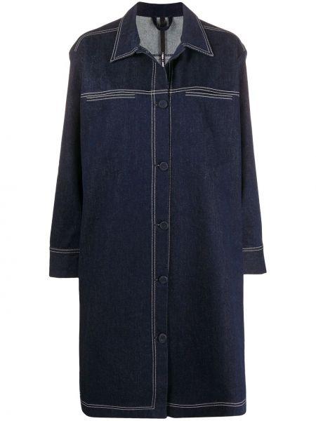 Синее пальто классическое с капюшоном с воротником Sara Lanzi