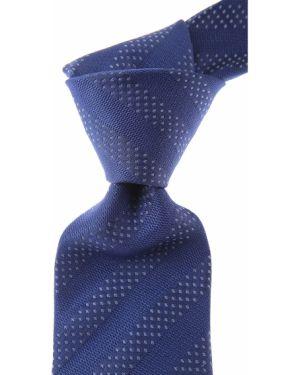 Szary krawat w paski z jedwabiu Belvest