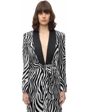 Бархатный белый пиджак с поясом Sara Battaglia