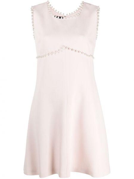Шелковое розовое платье с жемчугом без рукавов Giambattista Valli