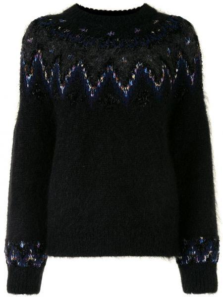 Черный свитер из мохера с рукавом реглан в рубчик Coohem