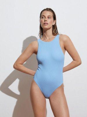 Голубой слитный купальник Oysho
