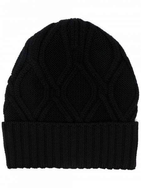Czarna czapka prążkowana Lardini