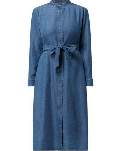 Niebieska sukienka midi rozkloszowana z długimi rękawami Esprit Collection