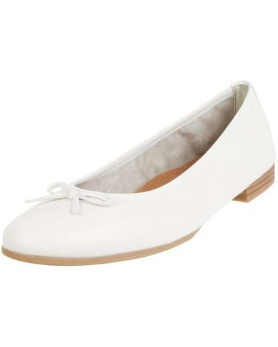 Białe balerinki skorzane Tamaris