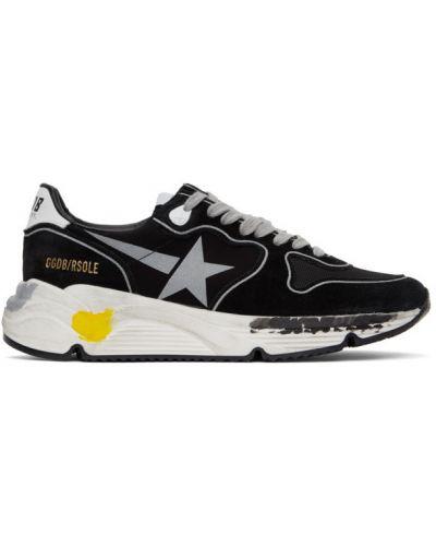 Koronkowa skórzany złoty czarny sneakersy do biegania Golden Goose