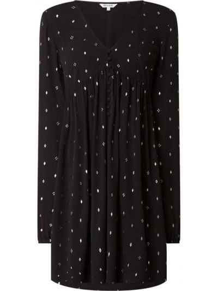 Czarna sukienka mini rozkloszowana z długimi rękawami Review