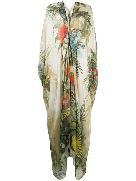 Приталенное платье макси с V-образным вырезом с драпировкой на молнии Roberto Cavalli