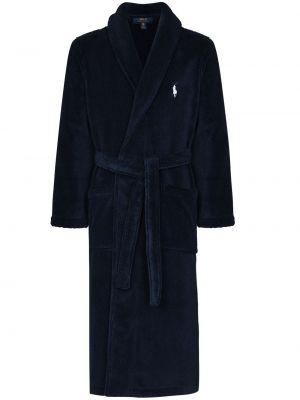 Niebieski szlafrok bawełniany z haftem Polo Ralph Lauren
