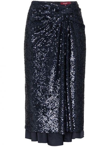 Синяя с завышенной талией юбка миди с пайетками в рубчик Sies Marjan