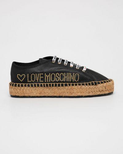 Эспадрильи на шнуровке черные Love Moschino