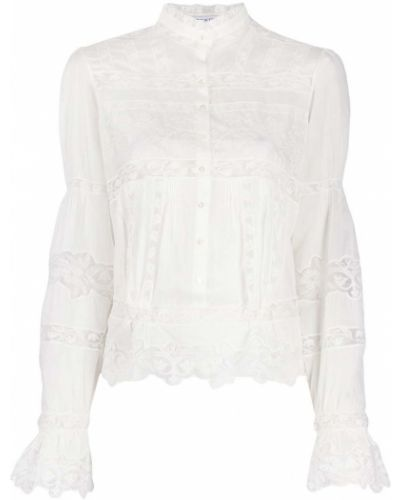 Белая блузка с вышивкой с воротником Ermanno Scervino