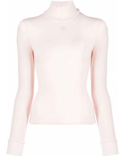 Прямой розовый джемпер с воротником Courrèges