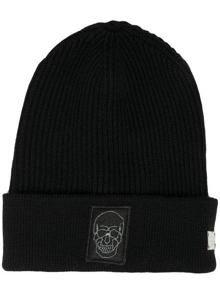 Шерстяная черная вязаная шапка бини Philipp Plein