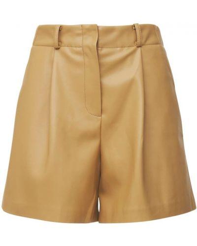 Бежевые кожаные шорты The Frankie Shop