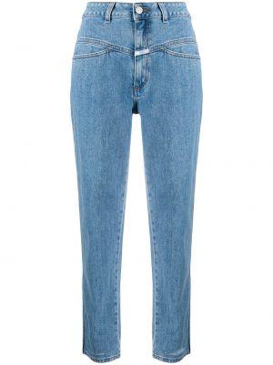 Хлопковые укороченные джинсы с высокой посадкой на молнии Closed