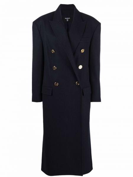 Синее длинное пальто Balmain
