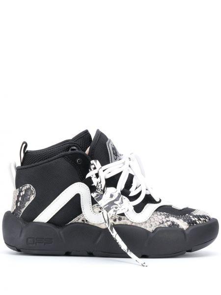 Włókienniczy czarny buty na pięcie z łatami zasznurować Off-white