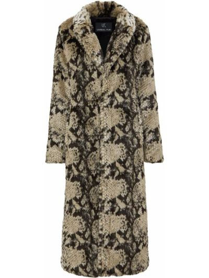 Бежевое пальто для полных из искусственного меха Unreal Fur