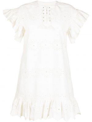 Расклешенное белое платье мини с оборками Bambah