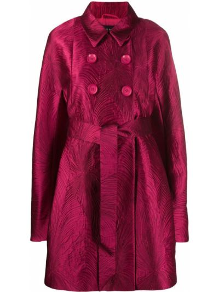 Расклешенное розовое пальто классическое с воротником узкого кроя Talbot Runhof
