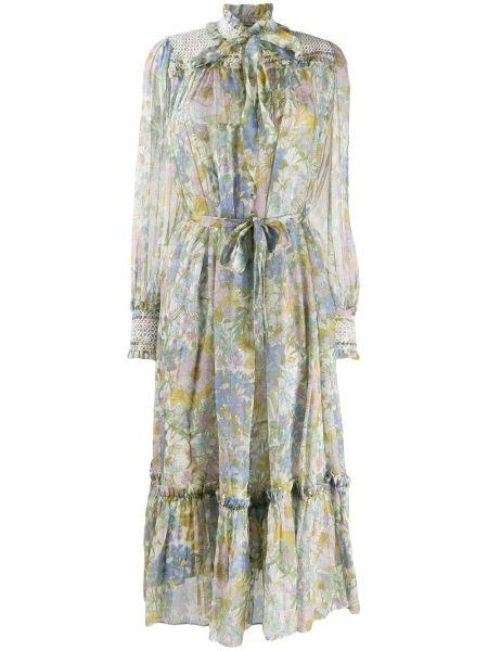 Шелковое плиссированное платье миди с вышивкой с воротником Zimmermann