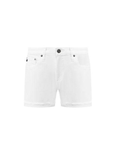 Мягкие белые джинсовые шорты с воротником со стразами Ag