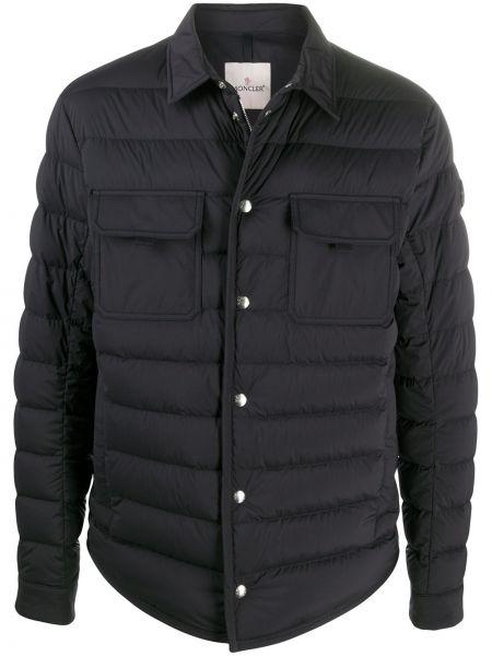 Синяя стеганая куртка с манжетами на пуговицах с декоративной отделкой Moncler