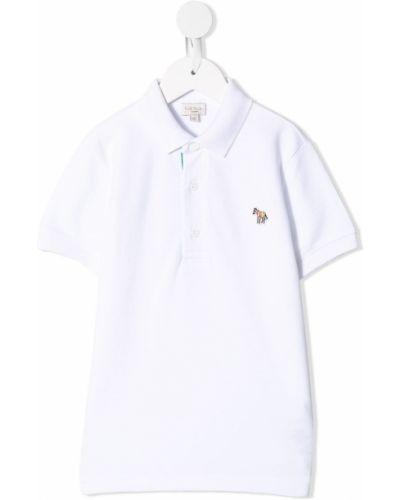 Белая прямая рубашка с коротким рукавом с воротником с заплатками Paul Smith Junior