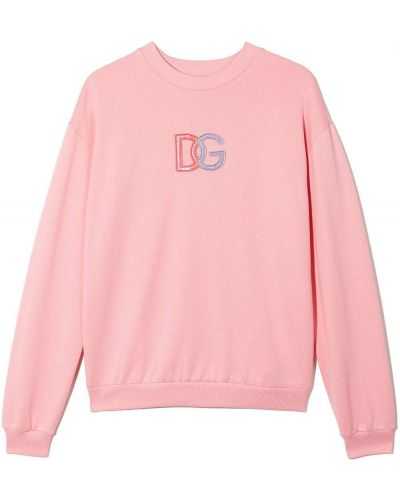 Różowa bluza bawełniana Dolce & Gabbana Kids