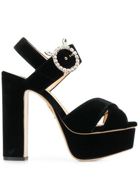 Czarne sandały na platformie z aksamitu Charlotte Olympia