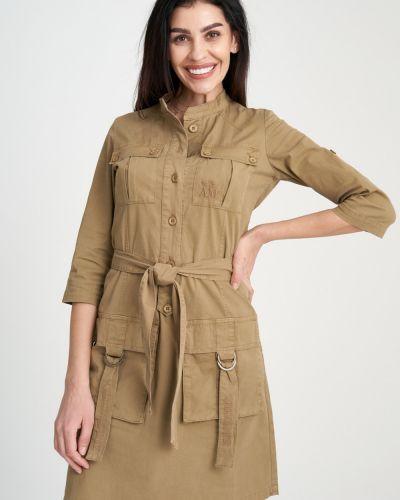 Платье с вышивкой - коричневое Aeronautica Militare