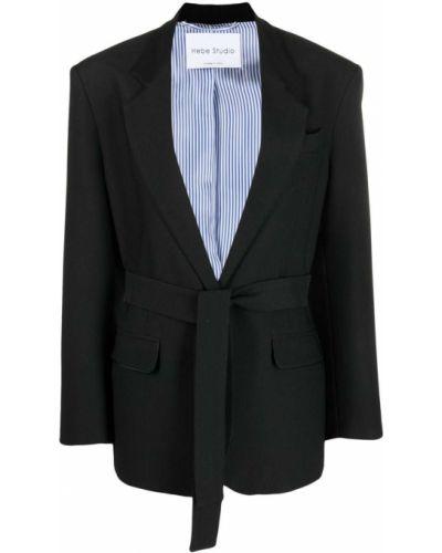 Черный удлиненный пиджак с поясом на пуговицах Hebe Studio