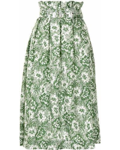 Шелковая зеленая плиссированная юбка Shrimps