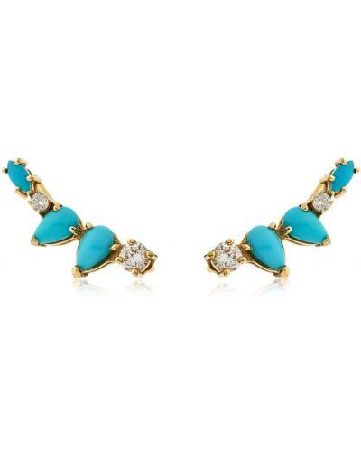 Złote kolczyki sztyfty z diamentem turkusowe Sarah Noor