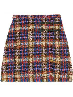 Синяя юбка мини букле на молнии с пряжкой Gucci