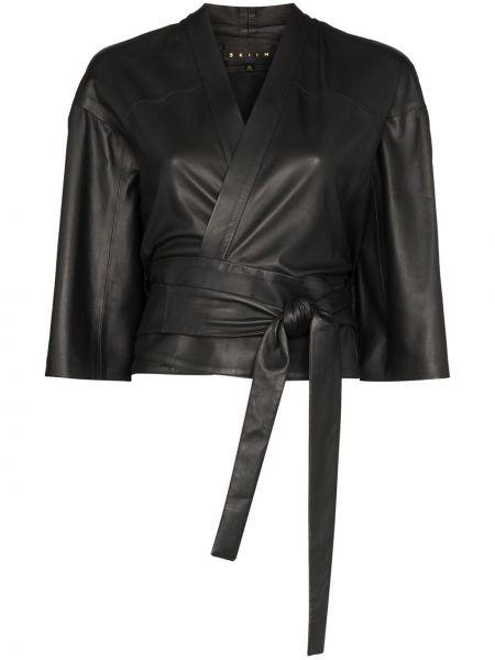 Кожаная куртка черная с запахом Skiim