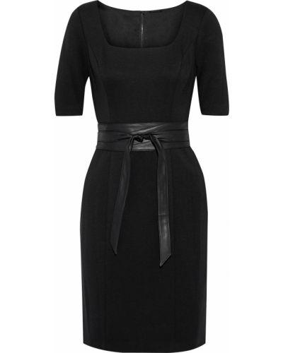 Czarna sukienka mini z paskiem skórzana Elie Tahari