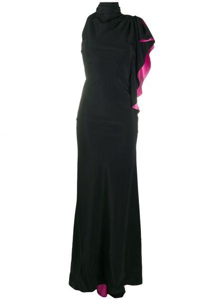 Черное асимметричное платье с оборками с воротником Redemption