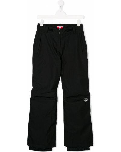 Черные брюки с карманами на кнопках с вышивкой Rossignol Kids
